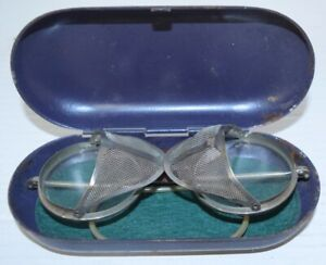 Vintage Goggles Wilson Leather Safety Retro Side Shields Aviator Round Case