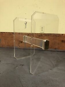 Lucite And Brass Table Base Mid Century Modern Vintage