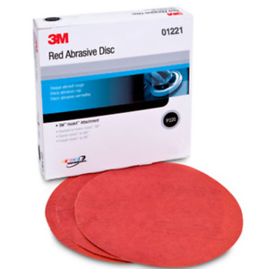 3m 01221 Red Abrasive Hookit 6 Inch 220 Grit Sandpaper Box Of 50 Mmm 1221