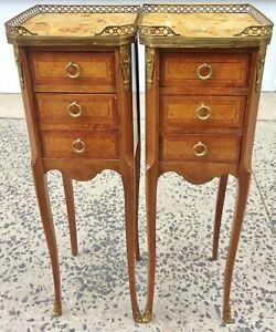Pair Antique French 19th C Louis Marble Top Inlaid Commodes Chest Night Stand