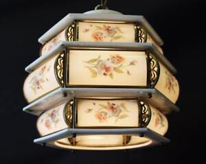Vintage Italy 3 Tier 12 X 13 Floral Porcelain Brass 1 Light Chandelier