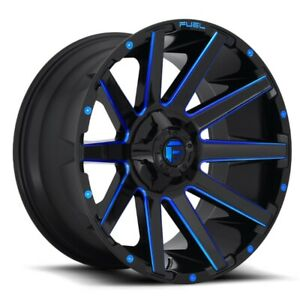 Set Of 4 Fuel Wheels D644 Contra 24x12 8x180 44 Gloss Milled Blue