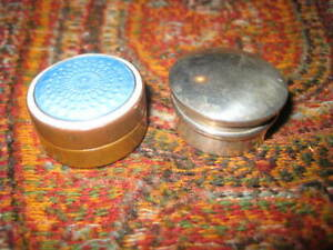 2 Antique English Pill Boxes 1 Sterling Silver 1 Brass With Guilloche Enamel Lid