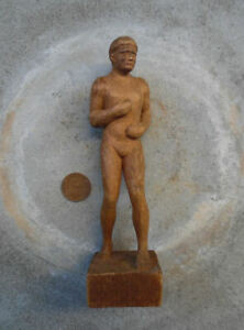 Antique Hand Carved Wood Nude Man C 1900 S