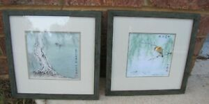 Pair Of Vintage Chinese Oriental Paintings 10 X10 Stamped Signed With Quotes