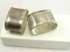 Vintage Taxco Mexico Sterling Silver Napkin Ring Holder Set Pair Tc 166