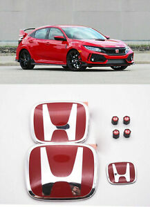 Racing Set Red H Emblem Front Rear Steering Fit 2016 20 Honda Civic Hatchback