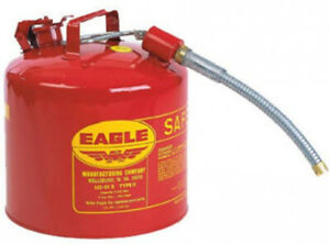 Gas Safety Can 5 Gallon Red Galvanized Steel With 7 8 Flex Spout Non sparking