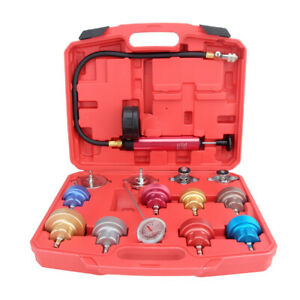 Universal Radiator Pressure Tester Kit 14pc Cooling System Test Detector Tool