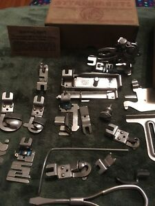 Lot Of Vintage Greist Sewing Machine Attachments In Box