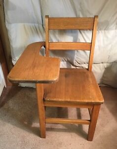 Antique Solid Oak School House Chair And Side Arm Desk