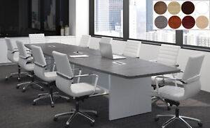10 Ft Foot Modern Conference Table With Grommets For Power Gray White 8 Colors