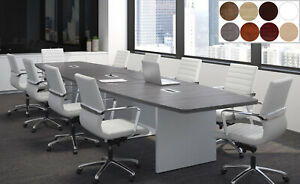 12 Ft Foot Modern Conference Table With Grommets White Gray Walnut 8 Colors
