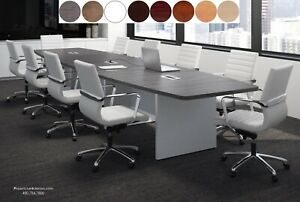 16 Ft Foot Modern Conference Table With Grommets White Gray Espresso 8 Colors