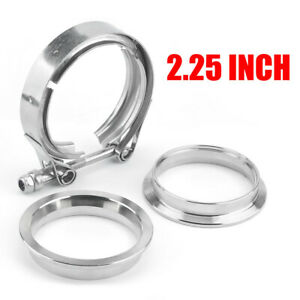 Universal 2 25 Inch Turbo Exhaust Down Pipe V Band Clamp Kit 2 Flange