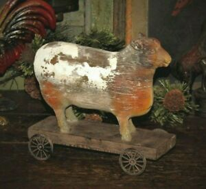 Primitive Antique Vtg Pull Toy Style Country Farm Sheep On Wheels Shelf Sitter