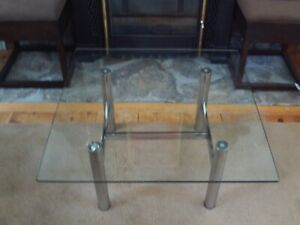 Mid Century Vintage Glass Chrome Coffee Table 32 Square