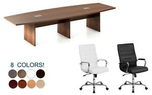 12 Foot Modern Conference Table And 10 High Back Leather Chairs Set Many Colors