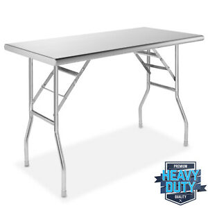 Stainless Steel Folding Commercial Kitchen Prep Work Table 48 X 24 In