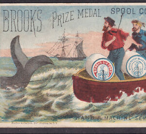 Whale Ship 1800s Antique Whaling Advertising Brooks Sewing Thread Victorian Card
