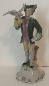 Antique Scheibe Alsbach Germany Figurine Falconer Man With Falcon Porcelain