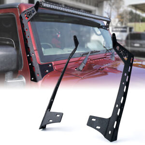 Roof Windshield 50 Light Bar Mount Brackets Steel For 2007 18 Jeep Wrangler Jk