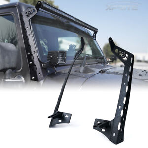 For Jeep Wrangler Jk Windshield 50 Light Bar Mount Bracket W Spotlight Holder