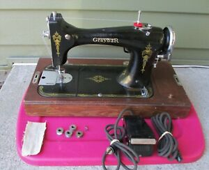 Vintage Graybar Sewing Machine Wooden Case Working Tested Serviced