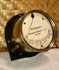 Antique Brass Gauge Voltmeter Gregory Electric Co Chicago Illinois Early 1900s