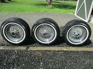 3 15 Chrome Jaguar Wire Wheels With Pirelli Tires Jag Knock Off Rims Oem Look