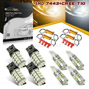 4x T10 921 T20 7443 7505 White Yellow Switchback Led Tail Brake Stop Light Bulb