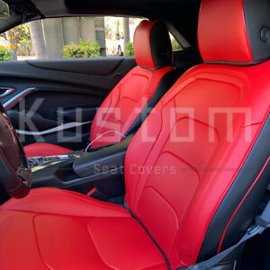 For 16 Up Camaro Coupe Custom Fit Red Black Interior Leather Seat Covers