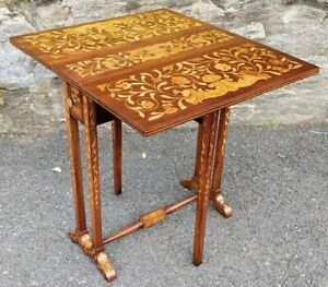 Antique Dutch Marquetry Inlaid Gate Leg Drop Leaf Tuck Able Side Table