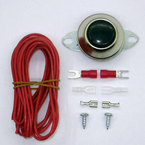 Vehicle Universal Chrome Horn Button Switch And 10ft 18 Awg Wire Kit