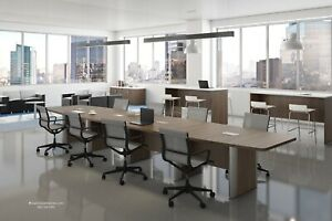 18 Ft Foot Modern Conference Table Has Canoe Shaped Legs And Grommets 8 Colors