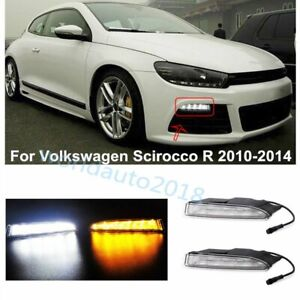 Led Daytime Running Lights Drl W Yellow Turn Signal For Vw Scirocco R 2010 2014