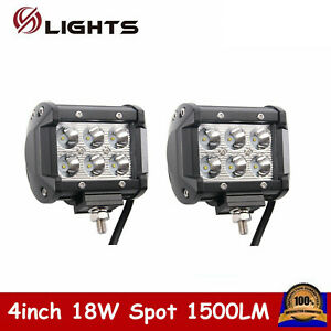 2x 4inch 18w Led Work Light Bar Reverse Off Road Fog Driving Spot Lamp 4wd Boat