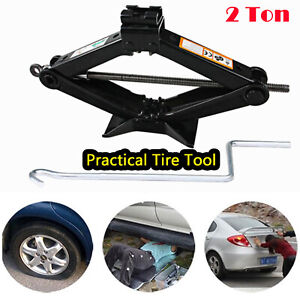 Emergency Scissor Jack Lift For Car Van Garage Handle 2ton Load Bearing Capacity