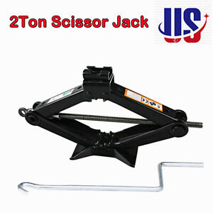 Pro Emergency Wind Up Scissor Jack Lift For Car Van Garage W Speed Handle 2 Ton