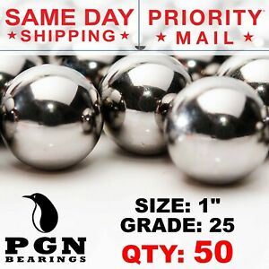 50 Qty 1 Inch G25 Precision Chrome Steel Bearing Balls Chromium Aisi 52100