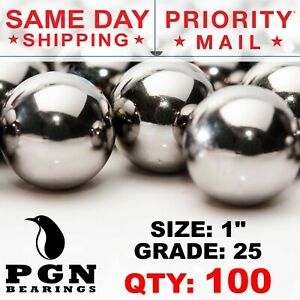 100 Qty 1 Inch G25 Precision Chrome Steel Bearing Balls Chromium Aisi 52100