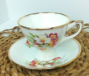Vintage Tea Cup And Saucer English Castle Bone China Staffordshire