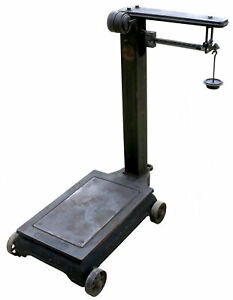 Vintage Antique Industrial Cast Iron Platform Fairbanks Scale With Weight 422392