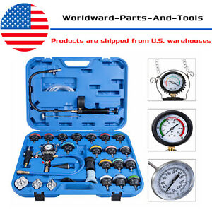 28pcs Universal Cooling System Radiator Pressure Tester Refill Test Kit W Case
