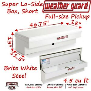186 3 01 Weather Guard White Steel Super Lo side Mount Box 47 Truck Toolbox