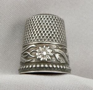 Antique Sterling Silver Sewing Thimble Daisy Flower Band 4 5g Stern Bros Size 9