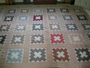 Antique Early Civil War Calico Quilt Madder Browns