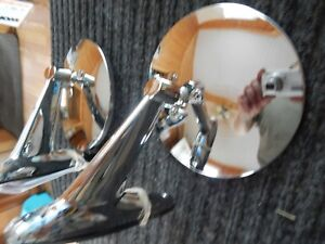 Vintage Style Round Chrome Mirrors Hot Rods Classic Muscle Car Restorod New