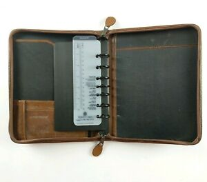 Day timer Distressed Brown Leather Planner 7 Ring Zipper 10 X 8 Inches