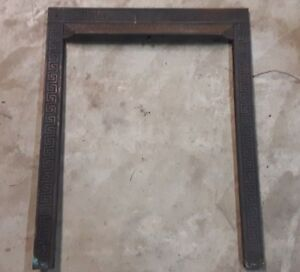 Antique Greek Key Cast Iron Fireplace Mantel Surround Facade Ornate Victorian